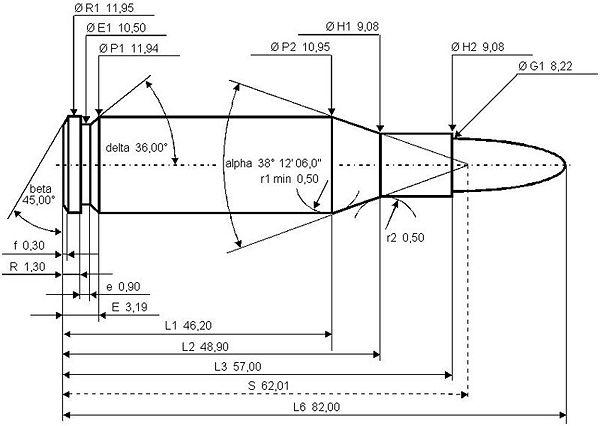 Die technische Zeichnung der 8x57 IS