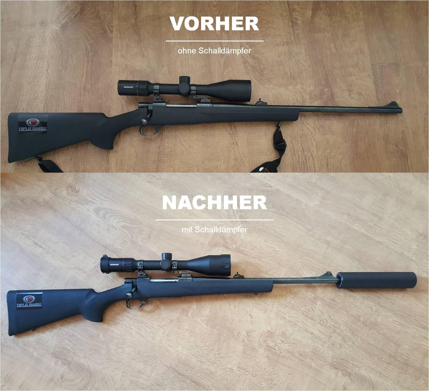 Die Waffe mit und ohne Schalldämpfer