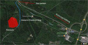 Anfahrtsskizze für den Bogenparcours Bad Homburg