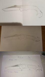 Messerprototyp Skizze