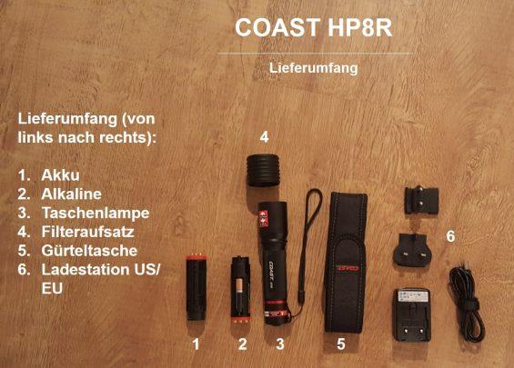 COAST HP8R Lieferumfang